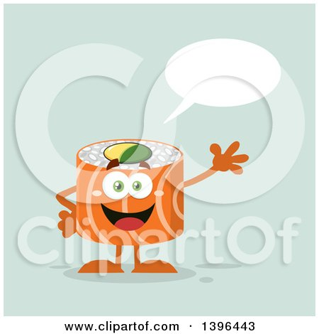 Clipart of a Flat Design Happy Salmon Sushi Roll Character Waving and Talking - Royalty Free Vector Illustration by Hit Toon