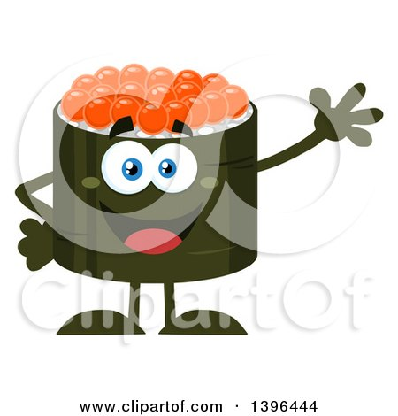 Clipart of a Flat Design Happy Caviar Sushi Roll Character Waving - Royalty Free Vector Illustration by Hit Toon