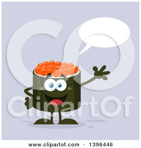 Clipart of a Flat Design Happy Caviar Sushi Roll Character Waving and Talking - Royalty Free Vector Illustration by Hit Toon