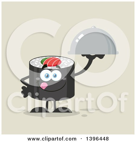 Clipart of a Flat Design Happy Sushi Roll Character Holding a Cloche Platter - Royalty Free Vector Illustration by Hit Toon