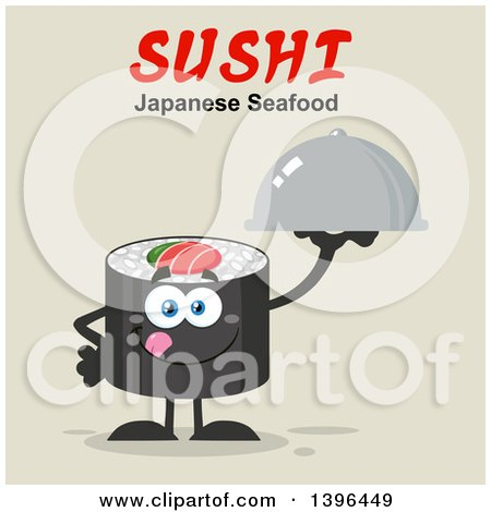 Clipart of a Flat Design Happy Sushi Roll Character Holding a Cloche Platter Under Text - Royalty Free Vector Illustration by Hit Toon