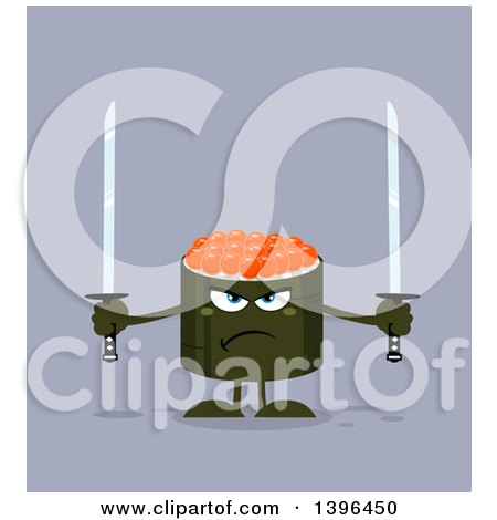 Clipart of a Flat Design Happy Caviar Sushi Roll Character Holding Swords - Royalty Free Vector Illustration by Hit Toon