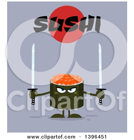 Clipart of a Flat Design Happy Caviar Sushi Roll Character Holding Swords Under Text - Royalty Free Vector Illustration by Hit Toon