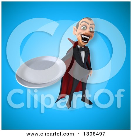 Clipart of a 3d Dracula Vampire Holding a Plate - Royalty Free Illustration by Julos