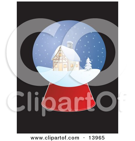 Christmas Snow Globe With a Cabin in the Snow Posters, Art Prints