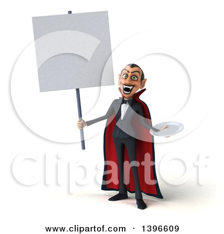 Clipart of a 3d Dracula Vampire Holding a Plate, on a White Background - Royalty Free Illustration by Julos