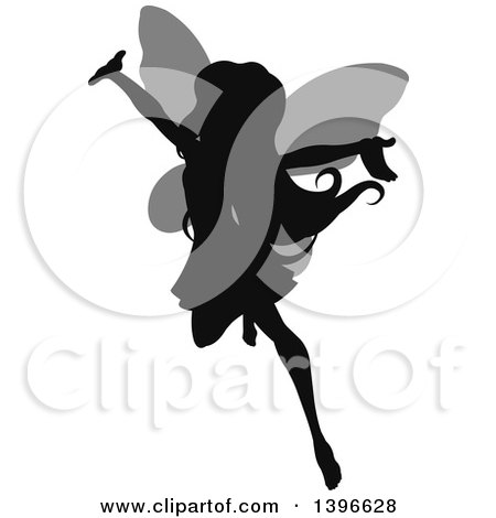 Clipart of a Black Silhouetted Cheering Flying Female Fairy with Gray Wings - Royalty Free Vector Illustration by Pushkin