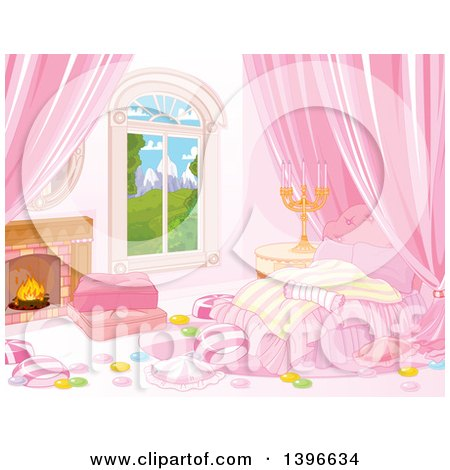 Clipart of a Candy Themened Bedroom with a Fireplace and View of Mountains - Royalty Free Vector Illustration by Pushkin