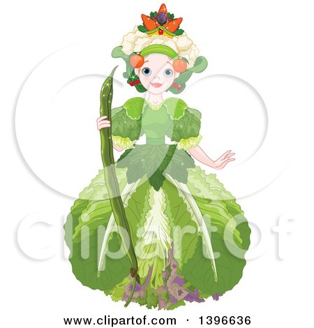 Clipart of a Beautiful Garden Fairy Queen Wearing Vegetables - Royalty Free Vector Illustration by Pushkin