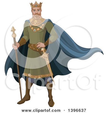 Clipart of a Fairy Tale Medieval Blond Caucasian King - Royalty Free Vector Illustration by Pushkin