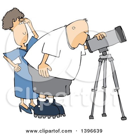 Clipart of a Cartoon Chubby White Male Astronomer and His Wife Looking Through a Telescope - Royalty Free Vector Illustration by djart