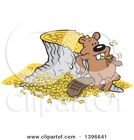 Clipart of a Cartoon Pleased Beaver Eating a Chunk After Chopping down and Chipping up a Tree - Royalty Free Vector Illustration by Johnny Sajem