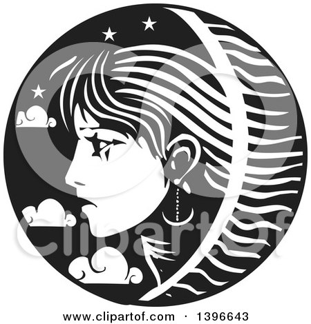 Clipart of a Black and White Woodcut Profiled Woman's Face in a Circle of Stars and Clouds - Royalty Free Vector Illustration by xunantunich