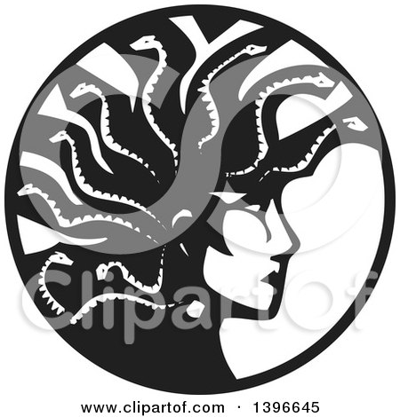Clipart of a Black and White Woodcut Profiled Medusa with Her Snake Hair in a Circle - Royalty Free Vector Illustration by xunantunich