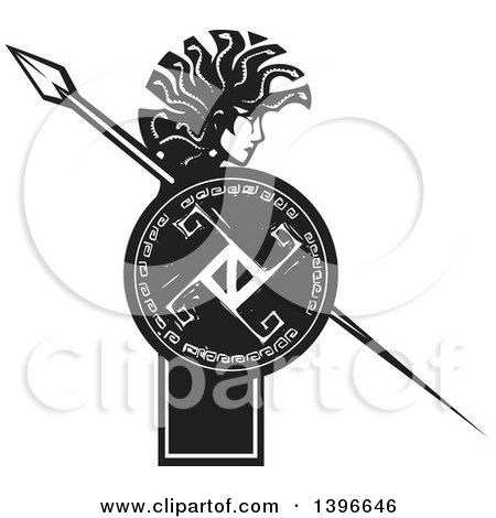 Clipart of a Black and White Woodcut Profiled Medusa with Her Snake Hair, Holding a Spear and Shield - Royalty Free Vector Illustration by xunantunich