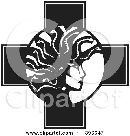 Clipart of a Black and White Woodcut Profiled Medusa with Her Snake Hair over a Cross - Royalty Free Vector Illustration by xunantunich
