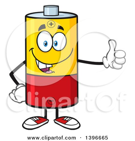 Clipart of a Cartoon Battery Character Mascot Giving a Thumb up - Royalty Free Vector Illustration by Hit Toon