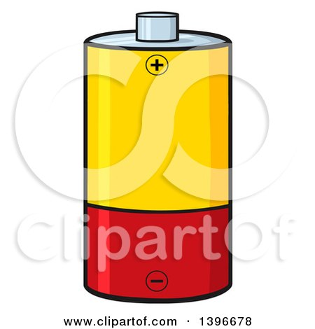 Clipart of a Cartoon Yellow and Red Battery - Royalty Free Vector Illustration by Hit Toon