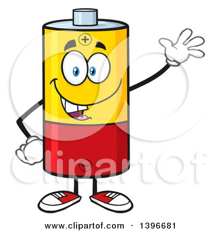 Clipart of a Cartoon Battery Character Mascot Waving - Royalty Free Vector Illustration by Hit Toon