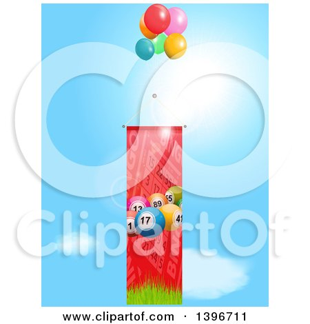 Clipart of a 3d Bingo Ball and Card Banner with Balloons Against Sky - Royalty Free Vector Illustration by elaineitalia