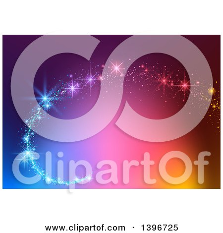 Clipart of a Magic Swoosh over a Colorful Background - Royalty Free Vector Illustration by dero