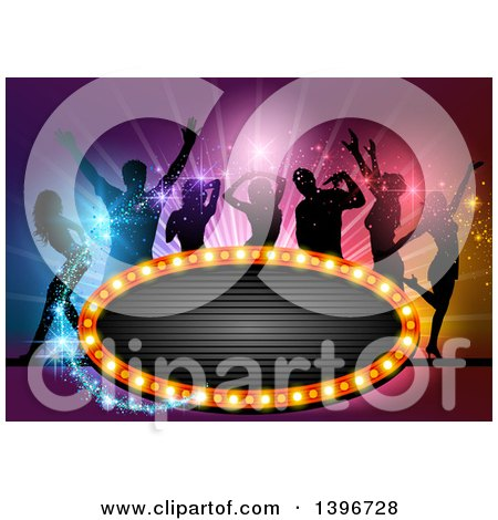 Clipart of a Group of Silhouetted People Dancing over Colorful Lights, with Magic Sparkles and a Sign - Royalty Free Vector Illustration by dero