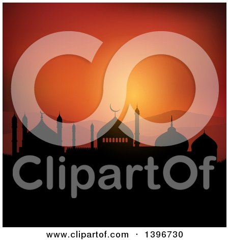 Clipart of a Silhouetted Mosque Against an Orange Sunset, Ramadam Kareem - Royalty Free Vector Illustration by KJ Pargeter