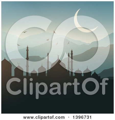 Clipart of a Silhouetted Mosque Against a Sunrise, Ramadam Kareem - Royalty Free Vector Illustration by KJ Pargeter