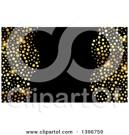 Clipart of a Background, Invitation or Business Card Design with Sparly Gold Dots on Black - Royalty Free Vector Illustration by KJ Pargeter