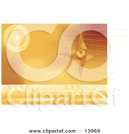 Computer Web Background Of a Star and Planet in Space With Rays and Binary Code Clipart Illustration by Rasmussen Images