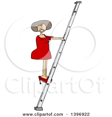 Clipart of a Cartoon White Business Woman Climbing a Ladder - Royalty Free Vector Illustration by djart