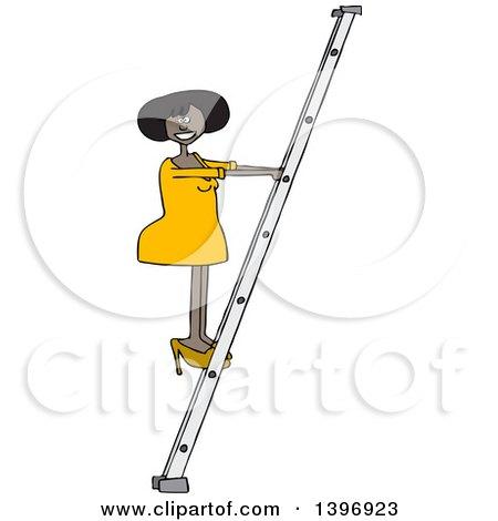 Clipart of a Cartoon Black Business Woman Climbing a Ladder - Royalty Free Vector Illustration by djart