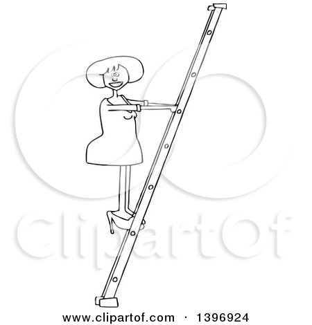 Clipart of a Cartoon Black and White Lineart Woman Climbing a Ladder - Royalty Free Vector Illustration by djart