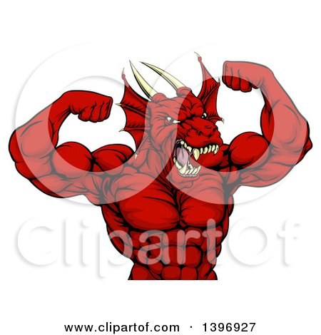 Clipart of a Cartoon Roaring Red Muscular Dragon Man Flexing, from the Waist up - Royalty Free Vector Illustration by AtStockIllustration