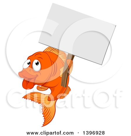 Clipart of a Cartoon Happy Goldfish Holding a Blank Sign - Royalty Free Vector Illustration by AtStockIllustration