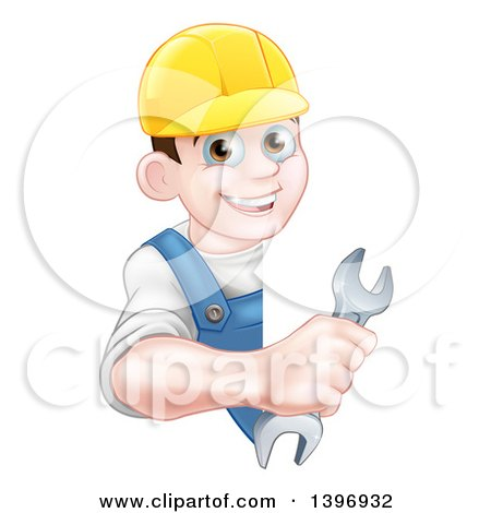 Clipart of a Happy Young Brunette Caucasian Mechanic Man in Blue, Wearing a Baseball Cap, Holding an Adjustable Wrench Around a Sign - Royalty Free Vector Illustration by AtStockIllustration