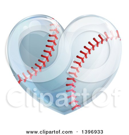 Clipart of a Baseball in the Shape of a Heart - Royalty Free Vector Illustration by AtStockIllustration