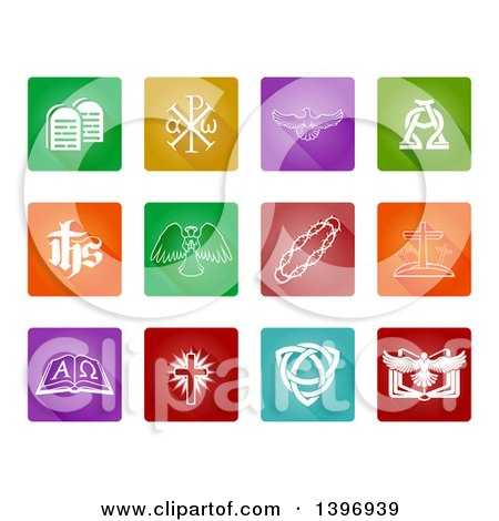 Clipart of White Christian Icons on Colorful Square Tiles with Rounded Corners - Royalty Free Vector Illustration by AtStockIllustration