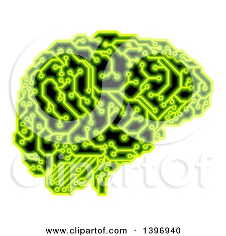 Clipart of a Human Brain with Electrical Circuits in Neon Green - Royalty Free Vector Illustration by AtStockIllustration
