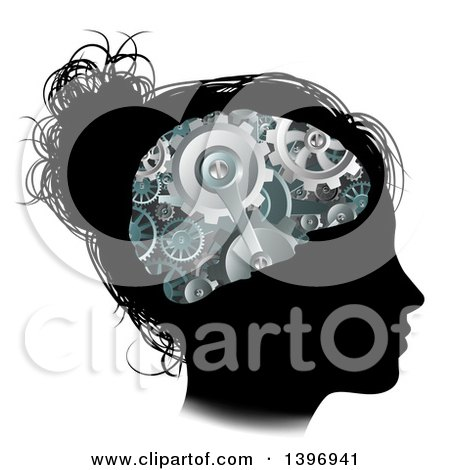 Clipart of a Black Silhouetted Girl's Face with 3d Gear Cogs Visible in Her Brain - Royalty Free Vector Illustration by AtStockIllustration