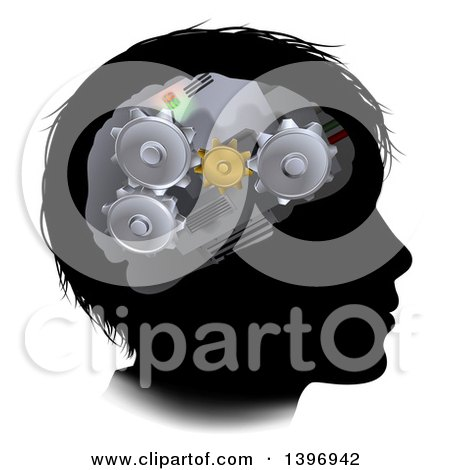 Clipart of a Black Silhouetted Boy's Face with 3d Gear Cogs Visible in His Brain - Royalty Free Vector Illustration by AtStockIllustration