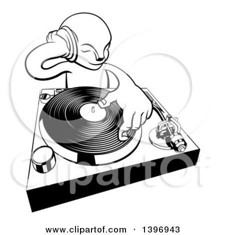 Clipart of a Black and White Alien Dj at a Turntable - Royalty Free Vector Illustration by AtStockIllustration
