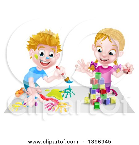 Clipart of a Cartoon Happy White Boy Kneeling and Painting Artwork and Girl Playing with Toy Blocks - Royalty Free Vector Illustration by AtStockIllustration