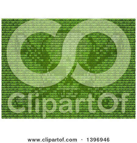 Clipart of a Skull and Crossbones Made of Green Binary Code - Royalty Free Vector Illustration by AtStockIllustration