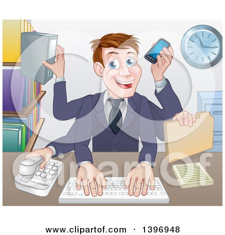 Clipart of a Cartoon Caucasian Business Man Multi Tasking with Many Arms at His Office Desk - Royalty Free Vector Illustration by AtStockIllustration