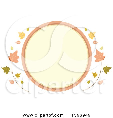 Clipart of a Circular Label Frame with Fall Leaves - Royalty Free Vector Illustration by BNP Design Studio