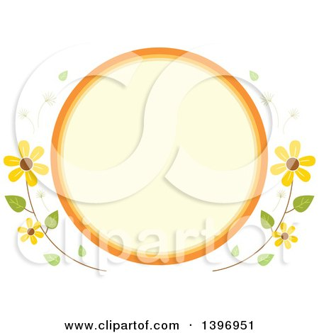 Clipart Of A Circular Label Frame With Summer Time Flowers Royalty Free Vector Illustration