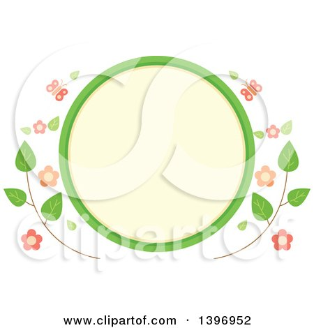 Clipart of a Circular Label Frame with Spring Time Butterflies and Flowers - Royalty Free Vector Illustration by BNP Design Studio