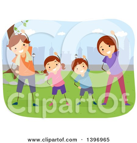 Clipart of a Happy Family Doing Yoga in a Park - Royalty Free Vector Illustration by BNP Design Studio
