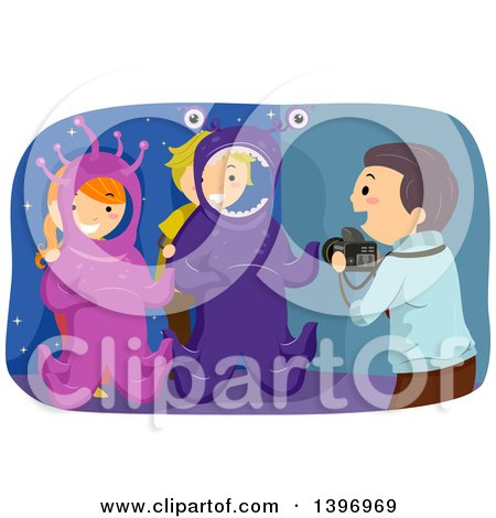 Clipart of a Man Taking Pictures of Kids in Alien Photo Ops - Royalty Free Vector Illustration by BNP Design Studio